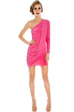 Sexy Pink Stretch Lace Asymmetric Body Con Dress Party Cocktail Clubbing Goddess