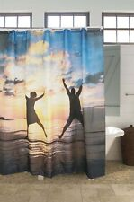 "71"" Polyester Waterproof 3D Sunsets Yellow Bath Shower Curtain Hooks Home Decor"