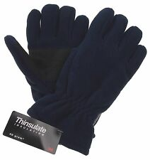 Blue Athletech Fleece Gloves 3M Thinsulate Lined Mens Winter Snow Warm Work NEW
