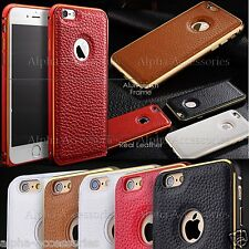 Luxury Genuine Leather Back Case Aluminium Bumper Cover For Apple iPhone SE 5s 6