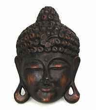 Vintage Style Wood Art Carved Buddha Face Head Mask Wall Hanging Sculpture