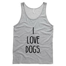 I Love Dogs. Mens Tank Dogs Puppies Soft Comfy Top 100% Cotton