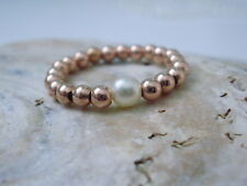 Finger Ring Toe Ring Rose Gold Vermeil on 925 Silver Beads with Swarovski Pearl