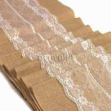 White Natural Jute Rustic Burlap Lace Hessian Table Runner Wedding Party Decor