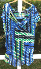 KENNETH COLE BLUE MULTI GEOMETRIC CAP SLEEVE POLYESTER CASUAL TOP BLOUSE S L NEW