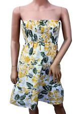 New Floral Ladies Sun Dress Yellow White Flowers Green Sequins