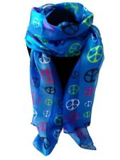 Womens Vibrant Blue Silky Peace Sign Scarves