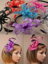 Looped Ribbon & Feather Fascinator on Black Satin Alice Band in Various Colours