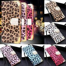 For Samsung iPhone Luxury Leopard Leather Bling Diamond Flip Wallet Cover Case