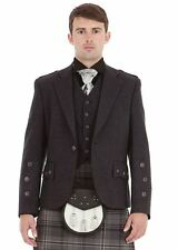 Men Gray & Black Tweed Scottish Kilt Jacket with Waistcoat Handmade All Sizes