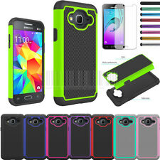For Samsung Galaxy J3 Shockproof Rugged Hybrid Armor Rubber Hard Case Cover+Film