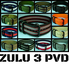 NEW ZULU 3 RING NYLON PVD MILITARY DIVER'S WATCH BAND STRAP 18mm/20mm/22mm/24mm