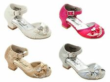 GIRLS GLITTER DIAMANTE BRIDESMAID WEDDING PARTY SANDALS SHOES UK SIZE 6-3