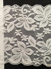 "Wholesale 1 / 5 / 10 yards white Stretch scalloped lace wide trim 5 1/2"" S7-1"