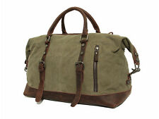 Men's Large Leather Canvas Lightweight Luggage Bags Weekend Overnight Duffle