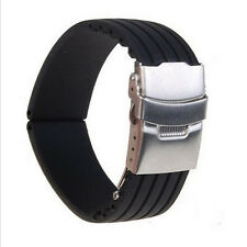 Waterproof Silicone Rubber Watch Strap Band Deployment Buckle 18/20/22/24mm Hot