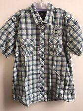 NWT GALVANNI Men's Shirt Italian Design S/M/L/XL Green/Blue Check Plaid