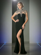 Cinderella Sexy Illusion High Neck with Slit Embellished Prom Dress Sz 2-14 NWT