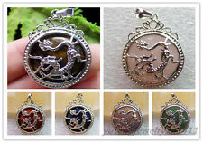 Marvelous Plated-Silver Dragon Wrapped Mixed Gemstone Round Pendant Bead XLZ-587