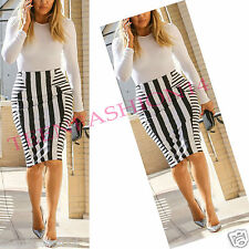 Womens Ladies Celeb Stripe Slimming Effect Print Pencil Mini Party Bodycon Skirt