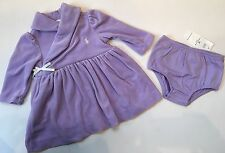 NWT Ralph Lauren POLO Pony Baby Girl Purple Velour Dress Panty 3 6 18 Mos Twins