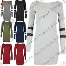 Ladies Plain American Basketball Bodycon Jersey Womens Stripe Sleeves Mini Top
