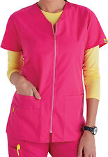 Wink Medical Scrub Origins Hot Pink Zip Front V-Neck Scrub Jacket Sz XS-XL NWT