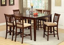 Modern Dining Table w Leaf Counter Height Dining Set Dining Chairs Brown Cherry
