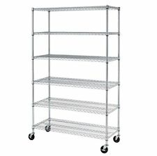 6 Tier Shelf Adjustable Steel Metal Wire Shelving Rack Black Chrome Commercial