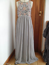 FROCK AND FRILL LIGHT GREY FLOATY CREPE BEADED SEQUIN MAXI DRESS UK 12 BNWT