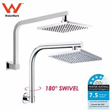 "WELS 8"" ABS / Chrome Rainfall Square Shower Head Rose Swivel Gooseneck Wall Arm"