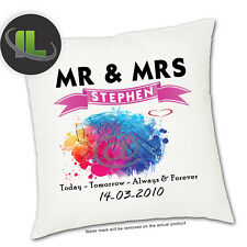 Personalised Mr & Mrs Wedding Day cushion Cover.Add  your own text -ILVC1087
