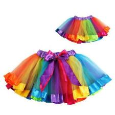 Baby Girls Princess Dancewear Tutu Ruffle Rainbow Fluffy Pettiskirt Skirts Dress