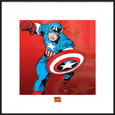 """CAPTAIN AMERICA - FRAMED ART PRINT / POSTER (ATTACKING) (SIZE: 16"""" x 16"""")"""