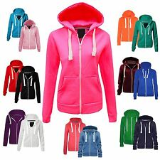 Womens Ladies Plain Hoodie Fleece Sweatshirt Hooded Coat Hoodys Zip Jacket 8-22
