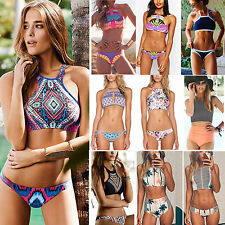 2PCS Sexy Women's Bandage High Neck Padded Retro Bikini Beach Swimwear Swimsuits