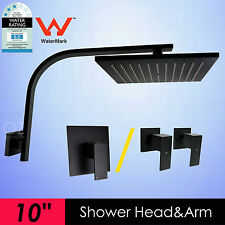 "WELS 10"" Square Shower Head Rose Gooseneck Wall Arm Mixer Taps Set Matt Black"