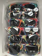 Lot Of 12 Pcs TIE DYE Rainbow Party WAYFARER Sunglasses Retro 80s Ship From USA