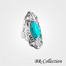 Stylish Sterling Silver Ring with Large Blue Turquoise Stone