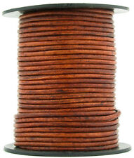 Brown Distressed Red Round Leather Cord 2mm 10 meters (11 yards)