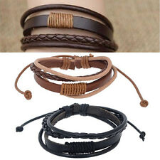 New Men Women Fashion Surfer Tribal Wrap Braided Leather Wristband Cuff Bracelet