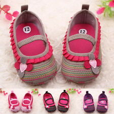 Toddler Infant Baby Girl Flower Shoes Crib Shoes Size Newborn to 18 Months #$%