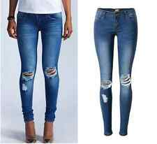 Womens Casual Slim Ripped Holes Skinny Jeans Destroyed Denim Trousers Pants hot
