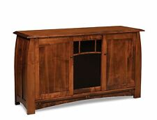 Amish Boulder Creek TV Stand Solid Wood Console Media Cabinet Storage 63""