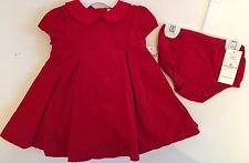 NWT Ralph Lauren POLO Baby Girl Red Corduroy Short Sleeve Dress Panty 3 6 9 24