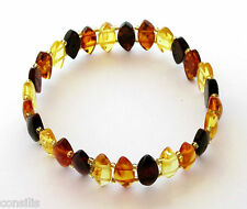 Genuine Baltic amber bracelet, multicolour diamond shape nuggets, adult jewelery