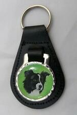BORDER COLLIE Black, Blue or Red Leather Keyfob NEW Ring Fob Birthday Gift