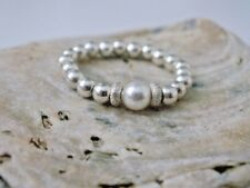 Finger Toe Stretch Stardust Ring Sterling Silver Beads made with Swarovski Pearl