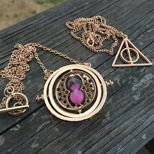 Harry Potter Time Turner Rotating Necklace Hourglass Spinning Pendant New Pink