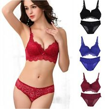 Sexy Womens Set Embroidery Lace Lingerie Underwear Push-Up Padded Bra Underwire